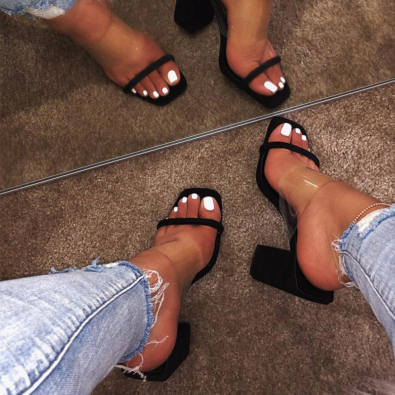 Image 2 - MCCKLE Women Transparent Sandals Ladies High Heel Slippers Candy Color Open Toes Thick Heel Fashion Female Slides Summer Shoes-in High Heels from Shoes