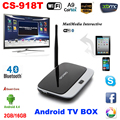 1080P Bluetooth WiFi 2G/16G XBMC DLNA Miracast Airplay OTG Quad Core ARM Cortex A7 CS-918T Rockchip RK3128 Android 4.4 TV Box