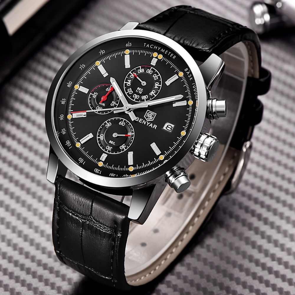 2017 BENYAR Mode Chronographe Sport Mens Montres Haut Marque De Luxe Étanche Militaire Montre À Quartz Horloge Relogio Masculino