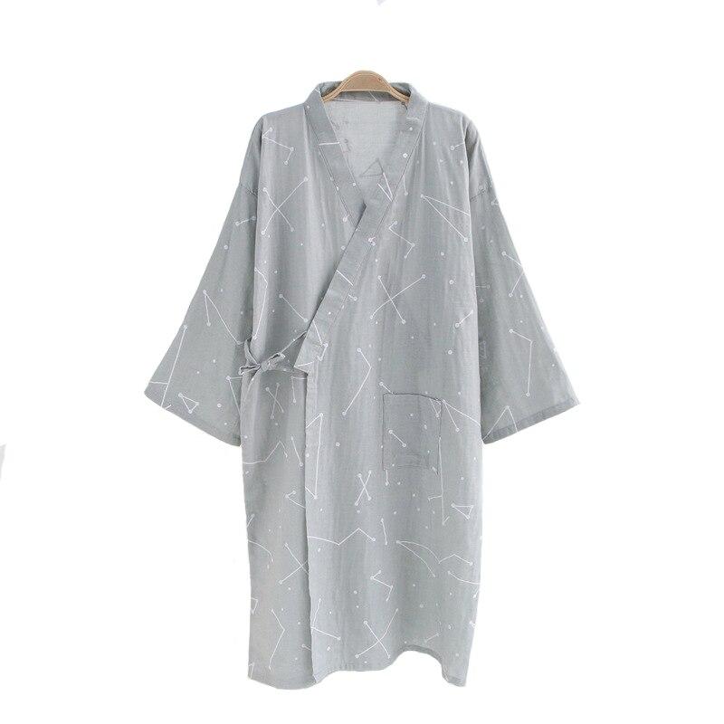 High Quality Cotton Nightwear Robe For Men Summer Casual Kimono Bathrobe Gown Belt Loose Sleepwear New Style Home Wear M L