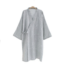 High Quality Cotton Nightwear Robe For Men Summer Casual Kimono Bathrobe  Gown Belt Loose Sleepwear New cbbcefc58