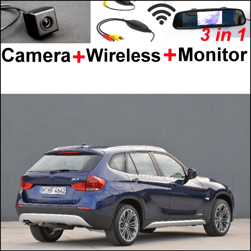 Special WiFi Camera + Wireless Receiver + Mirror Monitor Easy DIY Rear View Back Up Parking Backup System For BMW X1 E84 X3 E83 3in1 diy for hyundai i25 i35 i45 wireless wifi bluetooth backup rear view reverse rearview camera camara
