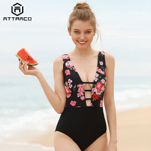 цена Attraco Swimwear Women's One Piece Deep V Neck Strappy One-Piece Swimsuit Floral Print Sexy Bathing Suits Monokini в интернет-магазинах