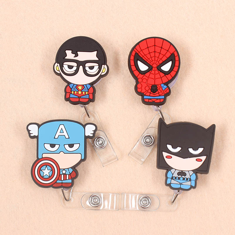 Cartoon Avengers Spiderman Batman Retractable Pull Badge Reel ID Lanyard Name Tag Card Badge Holder Reels Doctor Nurse Supplies