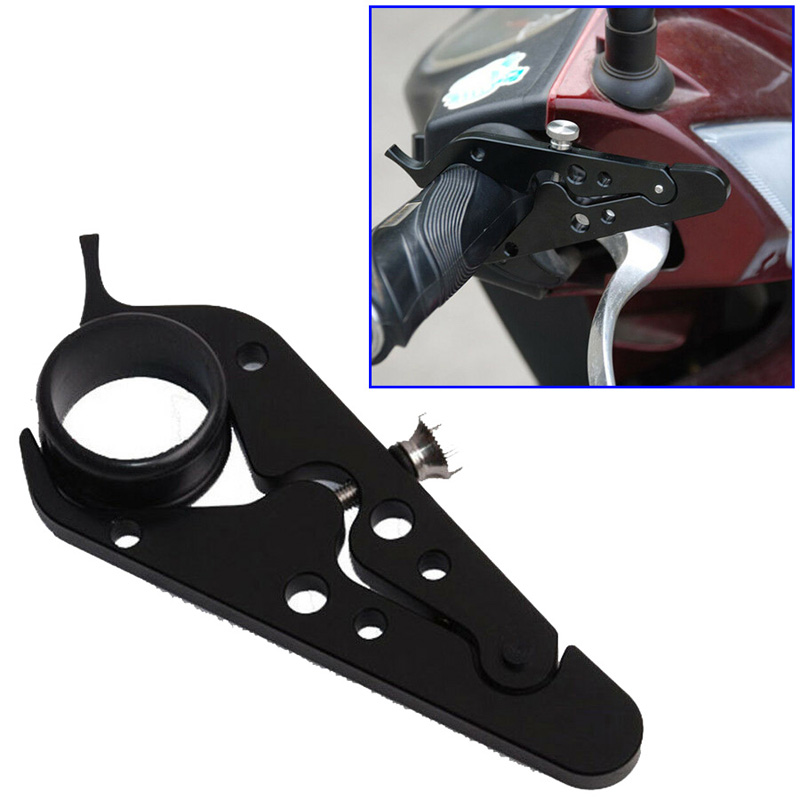 Universal Black CNC 6061 T6 Aluminum Alloy + Rubber Motorcycle Cruise Control Throttle Lock Assist Retainer Grip