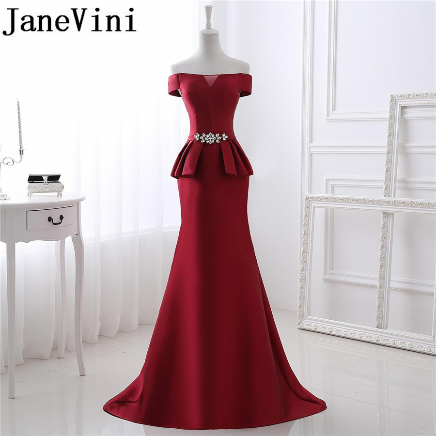 Janevini Dresses Mother-Of-The-Bride Longue Evening-Gowns Mermaid Satin Crystal Sweep-Train-Robe