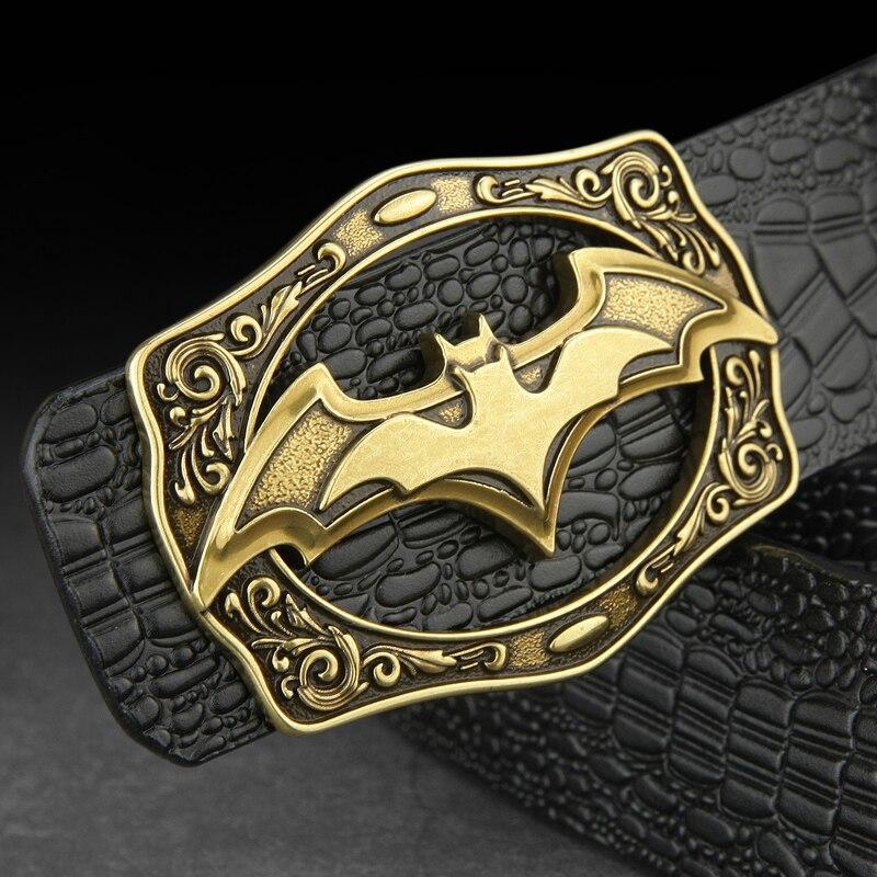 High Quality Cowskin Cowboy Belt Men Bat Pattern Luxury Famous Brand Slide Buckle Fashion Waist Strap Genuine Leather Waistband