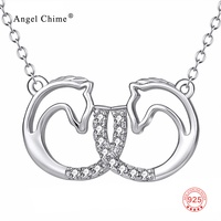 PYX0194 100 Real Pure 925 Sterling Silver Double Horse Head Crystal Pendant Necklace Fashion Jewelry Gift