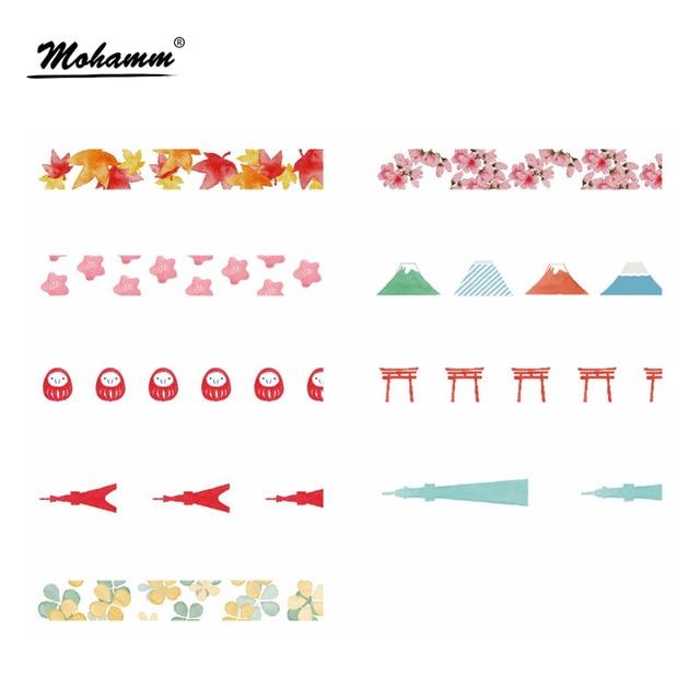 7M Masking Washi Tape Cute Kawaii Cherry Maple Leaf Japanese Adheisive Decorative Decor Tape Diy Scrapbooking Stationery
