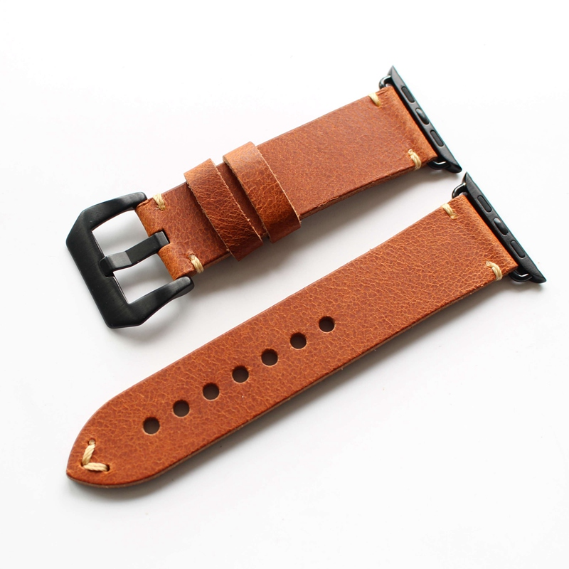 TJP Series 2/1 Genuine Brown Vintage Italy Calf Leather Watchbands Strap For Apple Watch iWatch 38mm 42mm Wristband With Adapter kakapi crocodile skin genuine leather watchband with connector for apple watch 38mm series 2 series 1 pink