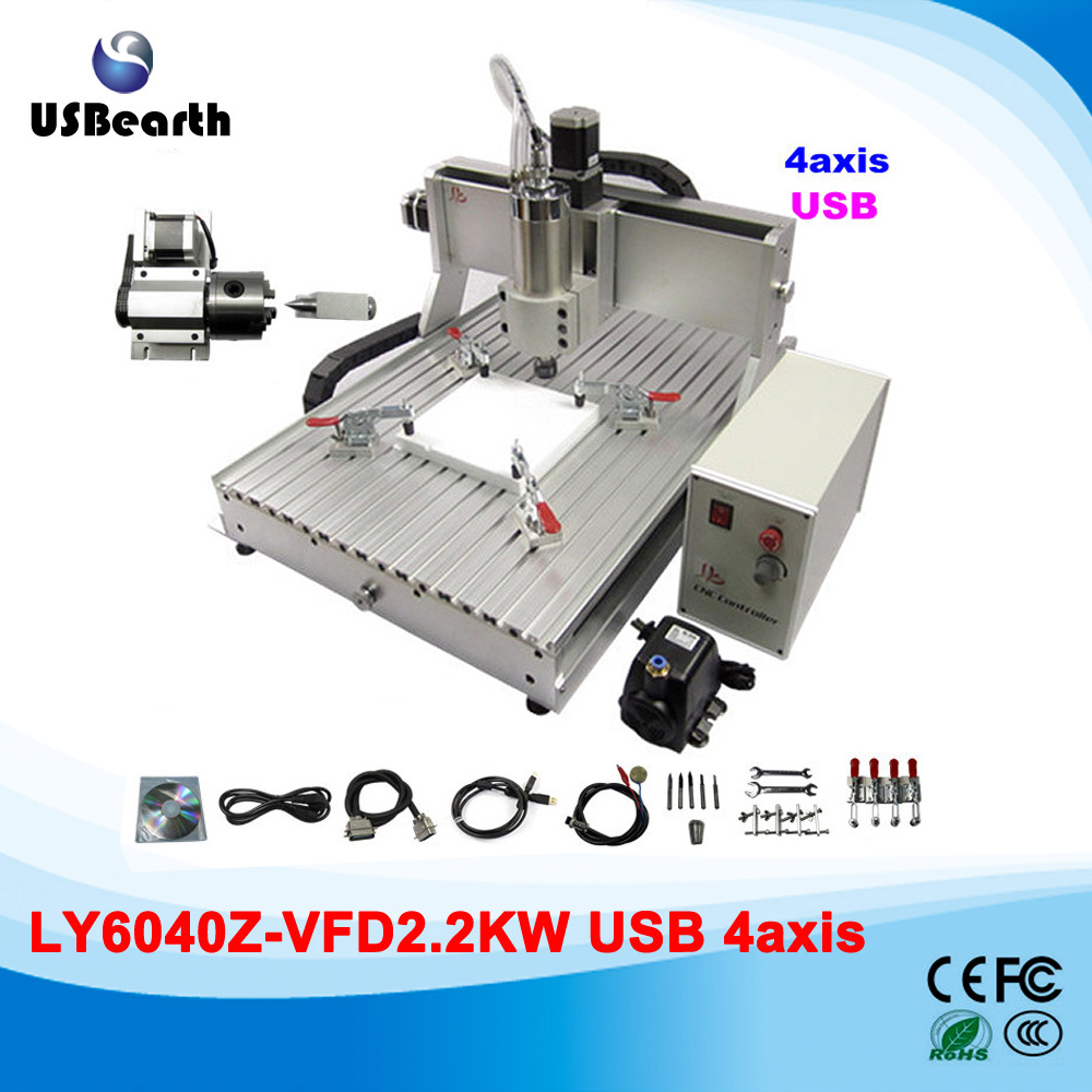 купить CNC Router 6040 2.2KW USB 4 Axis Drilling Miling Machine for Metal Woodworking дешево