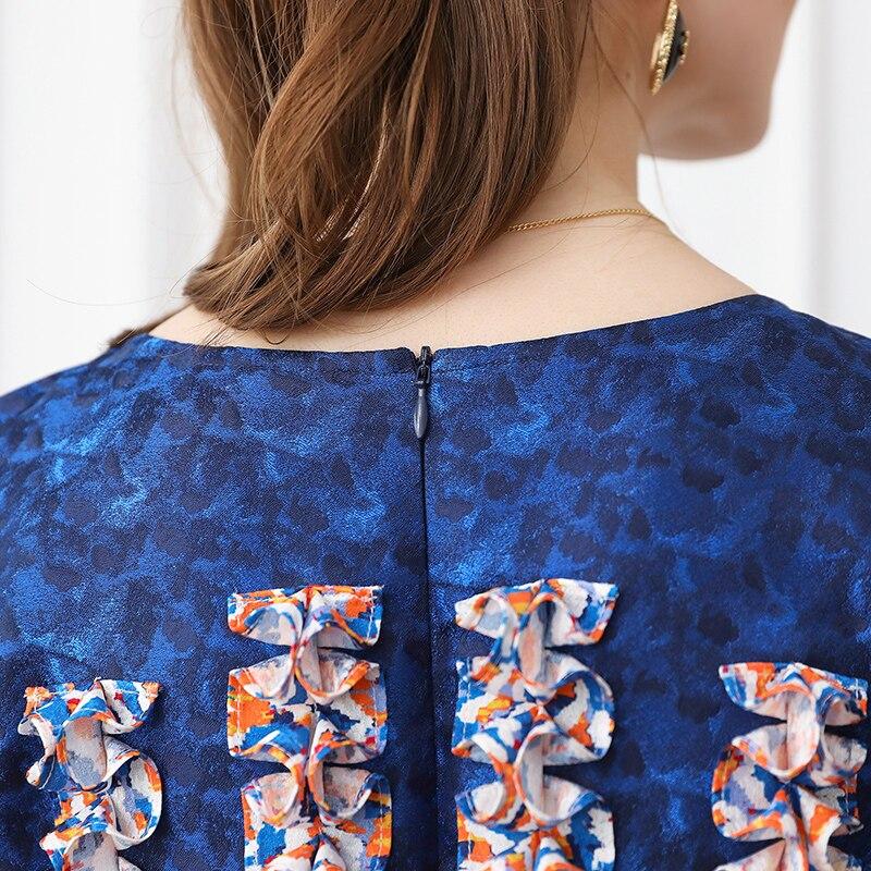 Taille Trapèze D'été A599 Slim Imprimer Voa Robe Femmes Haute Longue Soie 5xl Robes Plus Bleu Vintage Maxi Jacquard Partie TTqUzOwI