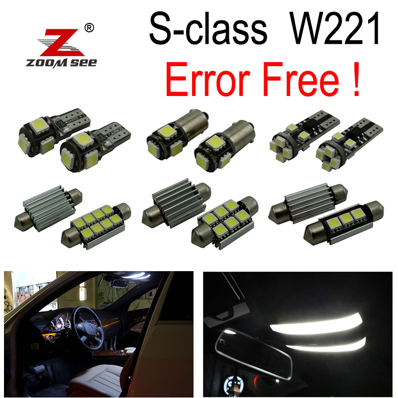 26pcs LED Bulb Interior + License plate Lights Kit for Mercedes S class W221 S250 S280 S300 S320 S350 S400 S420 S450 (2006-2013)
