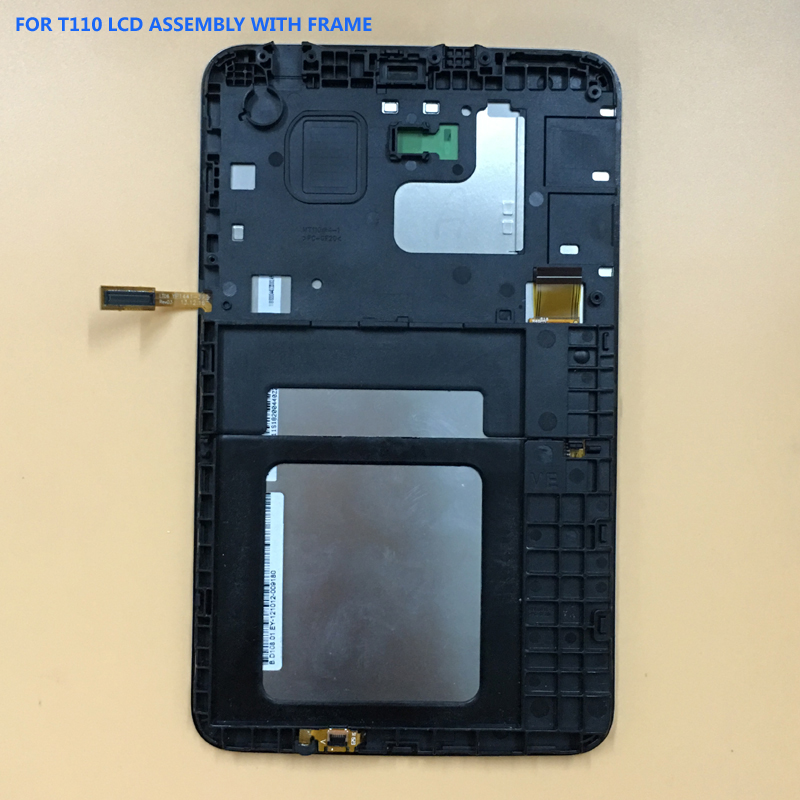 For Samsung GALAXY Tab 3 Lite SM T110 T111 Black / White Touch Screen Sensor Digitizer Glass + LCD Display Panel With Frame