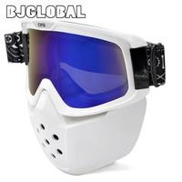 BJGLOBAL Men Women Detachable Mask Ski Goggles For Open Face Half Helmet Vintage Motorcycle Outdoor Cycling Motocross Goggles