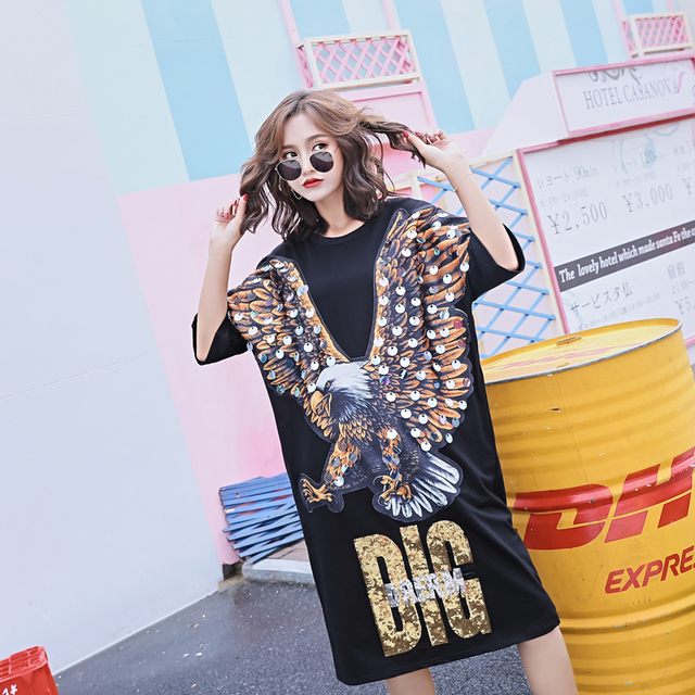 New Women s Eagle Animal Print Tshirt Dress Plus Size Casual Sequins Dress  Oversize Loose O-Neck Long Tees a66495c586fc