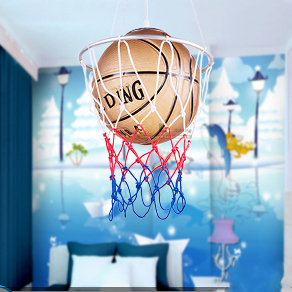 110V-220V Basketball Led Pendant Lamp Restaurant Lighting Led  E27 Bulb Children Room Cartoon Glass Light Pendant Led Fixtures kids led pendant lights basketball football glass e27 led bulb cartoon children s room bedroom lamps lighting ems free shipping