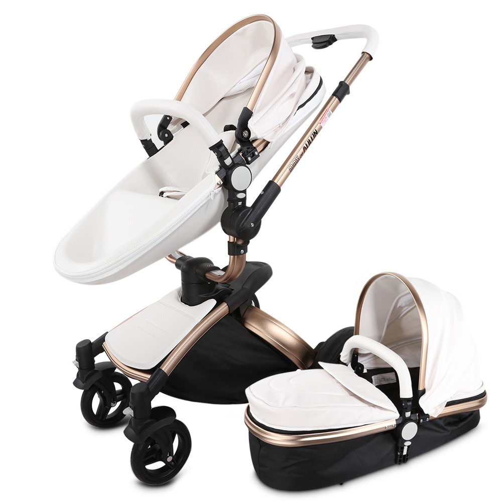 Multifunction Cortical Baby Stroller With Bassinet 2in1 With For Newborn Baby Carriage Travel High View Pram Folding Wheelchair