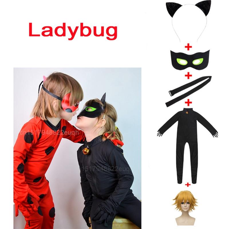 Hot Lady Bug Costume Ladybug Jumpsuits Adrien Agreste Black Cat Noir Cat suit Cosplay Costume Adult Kids Boys Halloween Costum