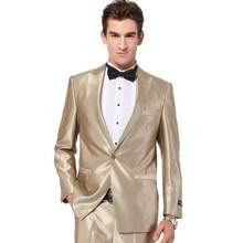 Hoge Kwaliteit Aanpassen made Mens Fashion champagne Wedding Suits piekte Revers een Knop mannen pak Smoking (jas + Broek + tie)(China)