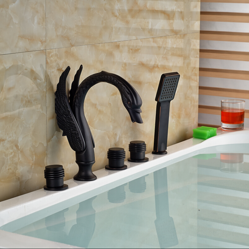 Oil Rubbed Bronze Widespread Bathroom Swan Bathtub Faucet Mixer Tap with Hand Shower Set