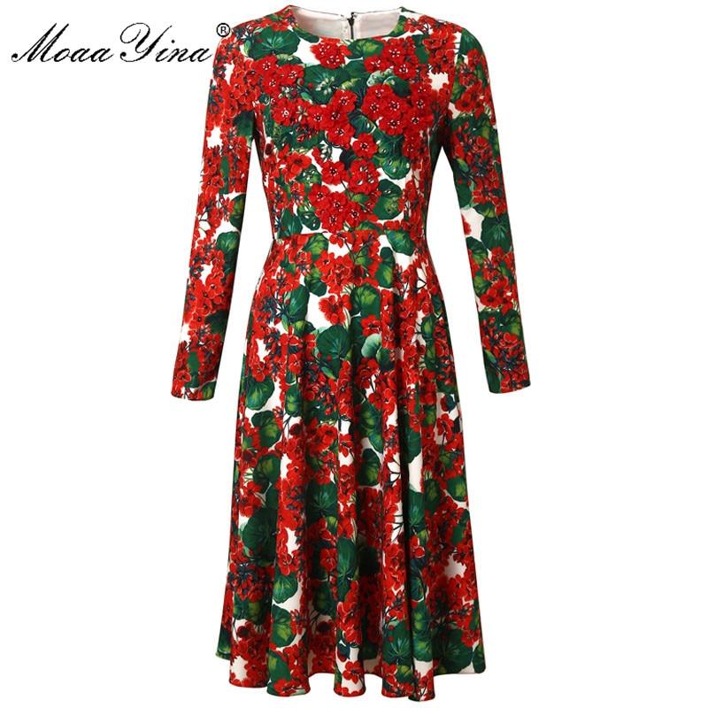 Kadın Giyim'ten Elbiseler'de MoaaYina Moda Tasarımcı Pist elbise İlkbahar Sonbahar Kadın Elbise Uzun kollu Kristal Aplike Çiçek Baskı Elbiseler'da  Grup 1