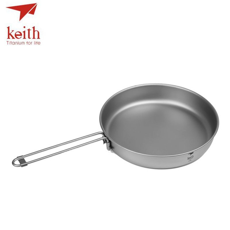 Keith Titanium Folding Frying Pan Ultralight Cooking Pot Portable Outdoor Camping BBQ Cookware Pot Tableware Cutlery