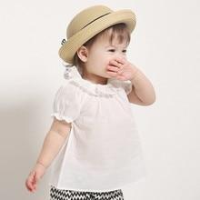 Универсальная футболка с рюшами и воротником для девочек; хлопок; футболка с короткими рукавами; Одежда для младенцев; Базовая рубашка для малышей