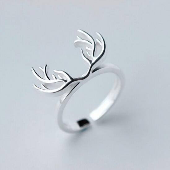 Silver Plated Animal Antler Ring