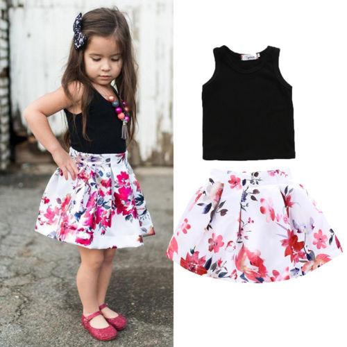 ec07dcd90e56 Pudcoco New Kids Summer 2Pcs Cute Baby Girl Black Vest Tops+Floral Skirts  Children Casual Party Prom Dress Clothes