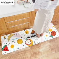 XYZLS PU Leather Cartoon Printed Kitchen Floor Mat Doormats Balcony Mats Living Room Bedroom Carpet Anti slip Rugs 1PC