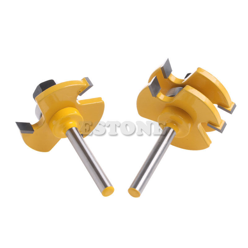 2Pcs Tongue & Groove Router Bit 3/4 Stock 1/4 Shank For Woodworking Tool New 2017 2pcs tongue