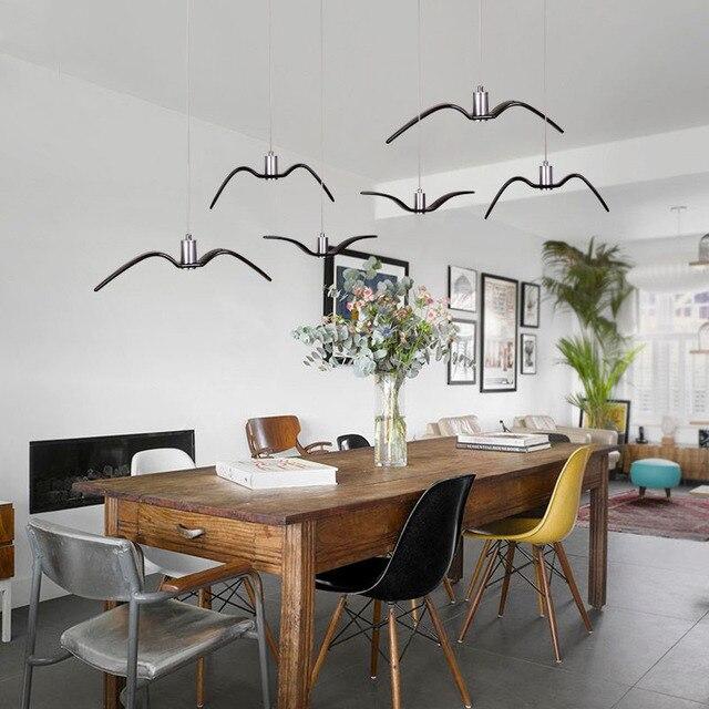 Schwarz Weiss Kreative Led Anhanger Lichter Seagull Anhanger Lampe