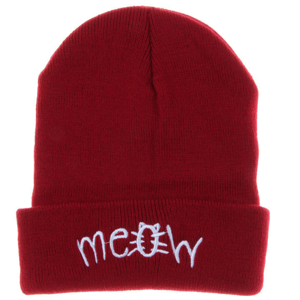 Solid Spring Winter Knitting MEOW Beanie Hat Letters Printed Men And Women Hiphop Cap winter knitting meow beanie hat and snapback men and women hiphop cap knitting wool stylish nov 20