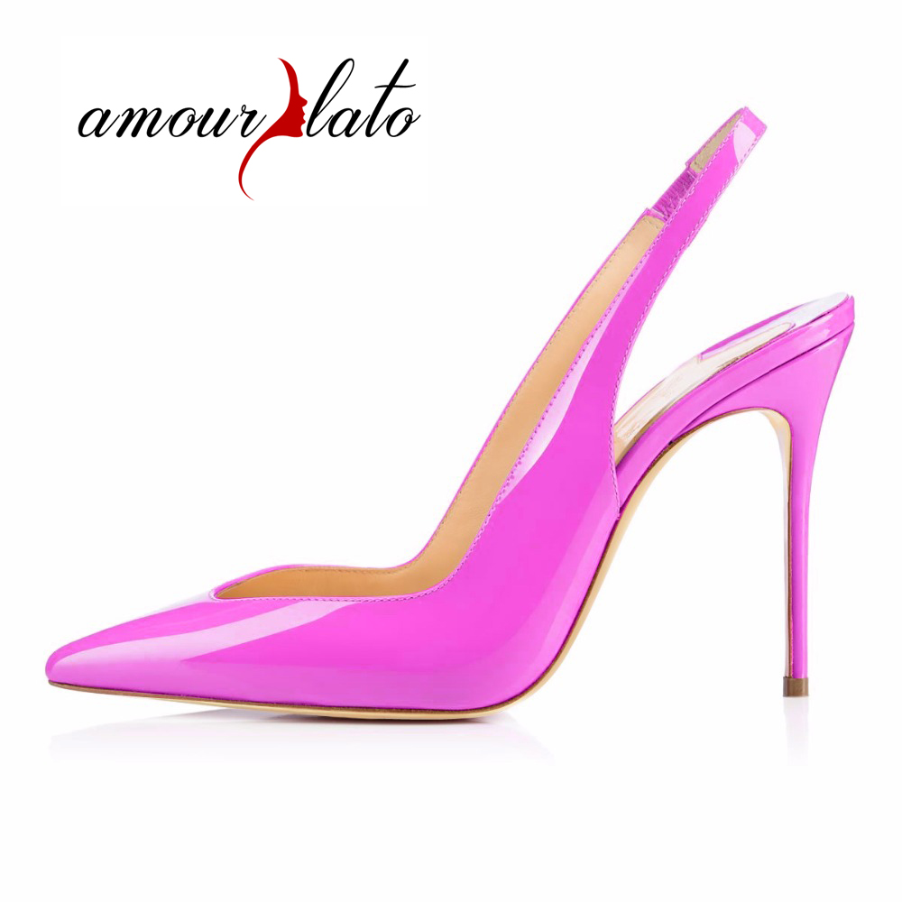 Amourplato Women's Pointed Toe Slingback Pumps Stiletto Heels Cut Out Comfy Party Wedding Dress Shoes 10CM Heel US5-US13 amourplato women s fashion pointed toe high heel sandals crisscross strap pumps pointy dress shoes black purple size5 13