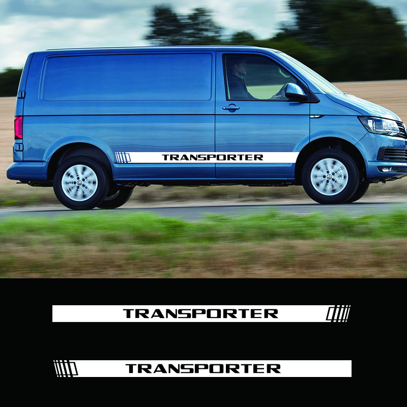 Image 3 - 2 PCS Vinyl Car Styling Transporter Side Skirt Sticker Decals Stripe Wraps Body Stickers For Volkswagen Transporter-in Car Stickers from Automobiles & Motorcycles