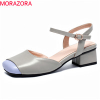 MORAZORA 2019 newest women sandals buckle summer shoes square toe mixed colors med heels party prom shoes woman big size 45