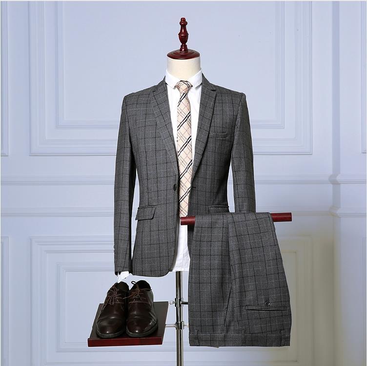 3 Pieces High Quality One Button Plaid Slim Fit Male Wedding Tuxedos Men Suits Jacket+Pants+Vest Blazer Costume Homme