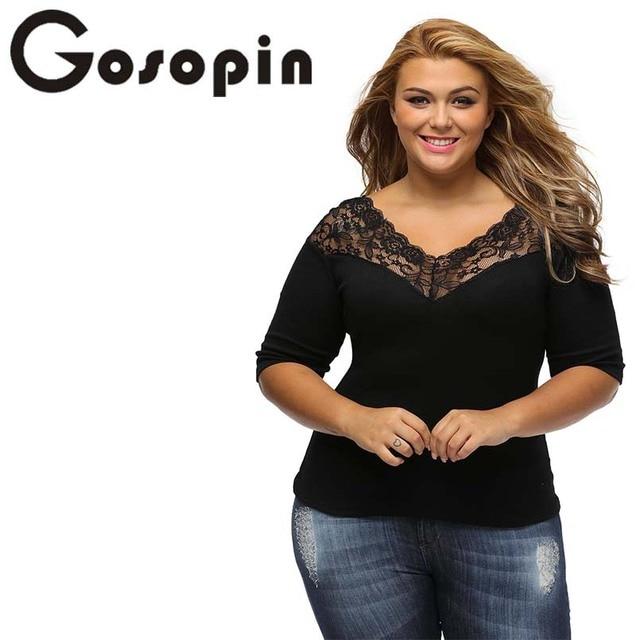 13026cd1eb8 Gosopin Plus Size Lace Tops Black Sexy Women T Shirt V-Neck Large Sizes  Party Autumn Shirt Hollow Out Blusas Femininas LC25914