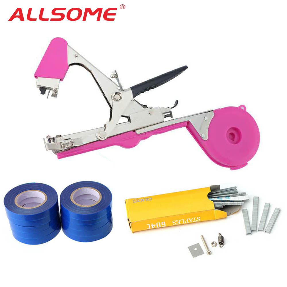 ALLSOME Plant Branch Tapetool Tapener Tapes Garden Tools Plant Tying Packing Vegetable Stem Strapping with 10 Roll Tapes HT2606
