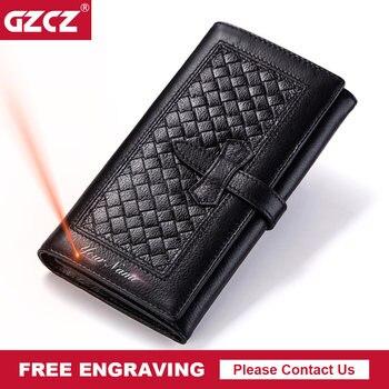 GZCZ kadın Hakiki Deri Cüzdan Moda uzun cüzdan Cep telefon cebi Para Cebi Kullanışlı Kadın Çanta Portomonee Para Çantası