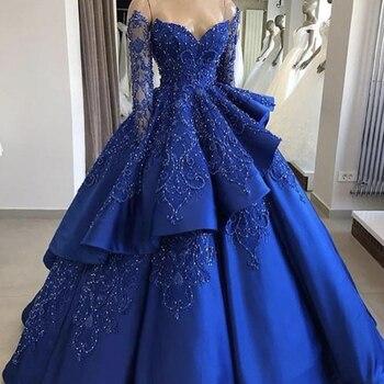 727d46e3b541e Kraliyet mavi abiye 2019 uzun kollu İnciler dantel aplikler fırfır balo  saten abiye giyim vestidos de fiesta