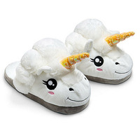 Winter Plush Unicorn Slippers Cute Funny Men Adult Slippers Women Home Shoes Warm Cotton With Heel