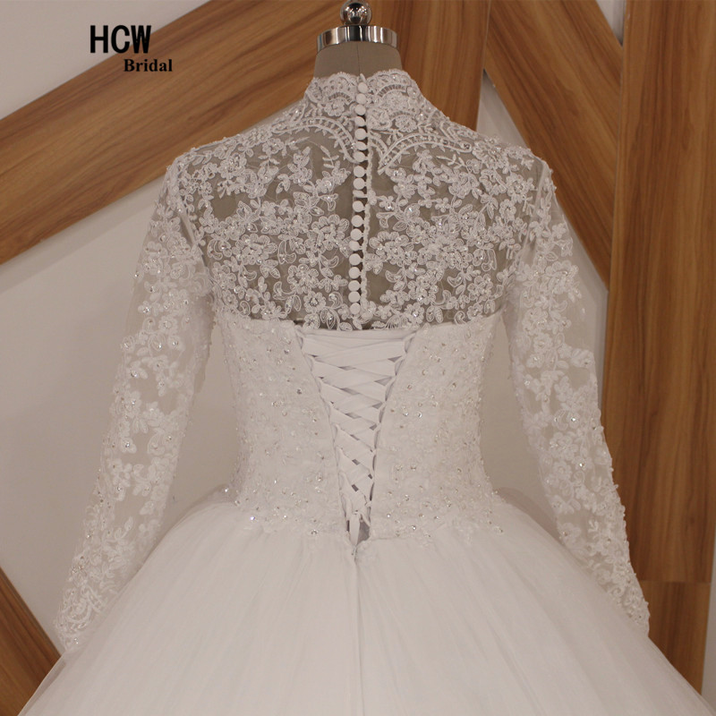 2 meter långt tåg muslimsk bröllopsklänning höghalsad - Bröllopsklänningar - Foto 5