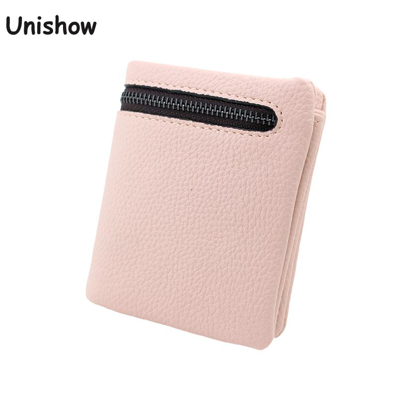 Unishow Mini Wallet Brand Small Women Coin Purse Female Short Wallet Purse Cute Girl Change Bag Ladies Credit Card Holder dollar price women cute cat small wallet zipper wallet brand designed pu leather women coin purse female wallet card holder