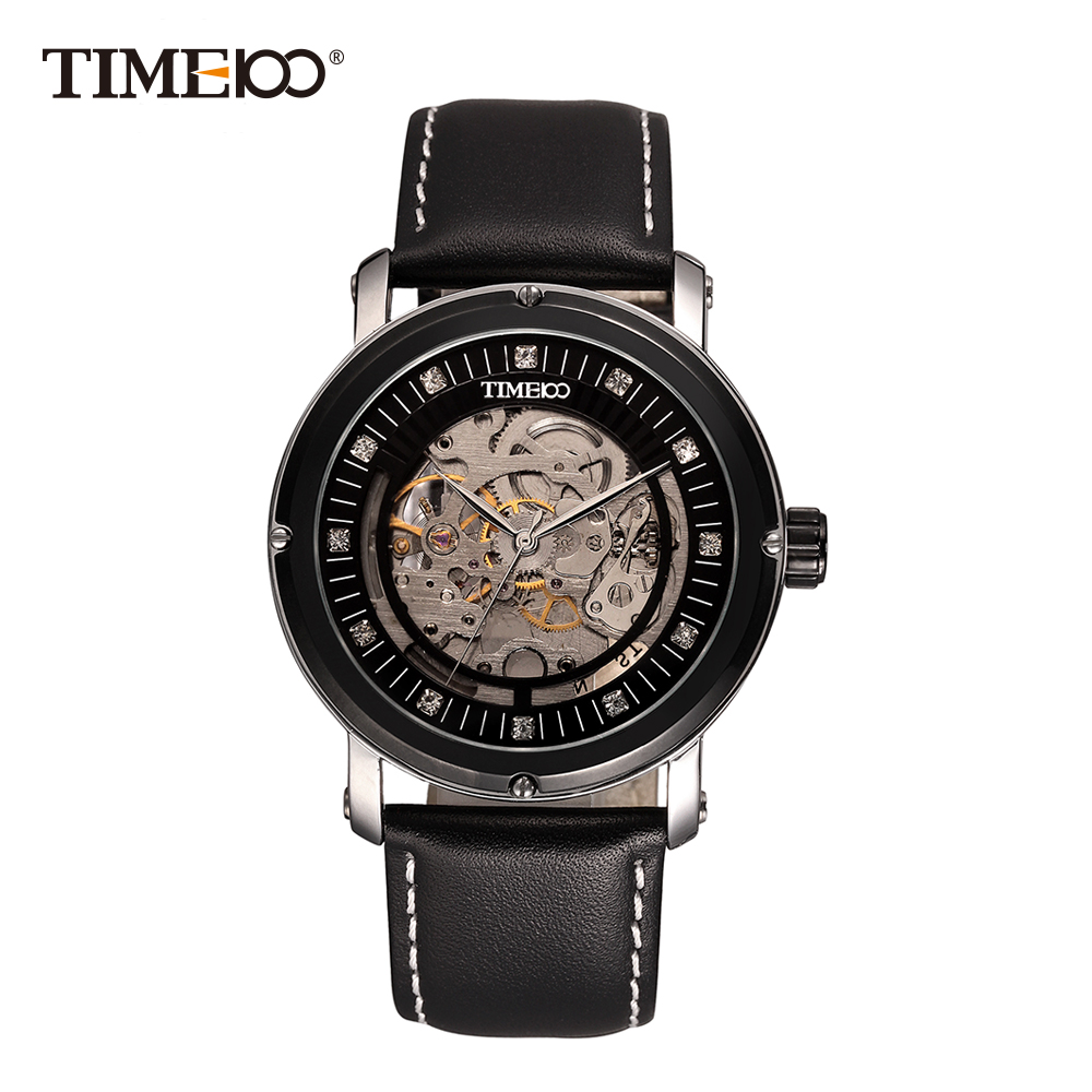 2016 New TIME100 Men's Automatic Self-wind Mechanical Skeleton Space Watches Black Leather Business Causal Wrist Watch For Men cjiaba gk8001 sw pu leather band skeleton self winding mechanical wrist watch for men black