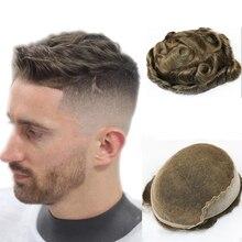В наличии коричневый цвет 3 # швейцарское кружево с ПУ парик для мужчин человеческие волосы для мужчин