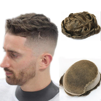 Stock Brown Color 3# Swiss Lace With PU Toupee For Mens Human Hair For Men