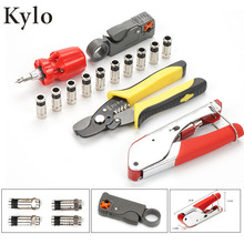 цена на Multitool Wire Stripping Squeezing Pliers Coaxial Cable Manual Crimping Tool Set Kit For F Connector RG59 RG6 Tool Set kit