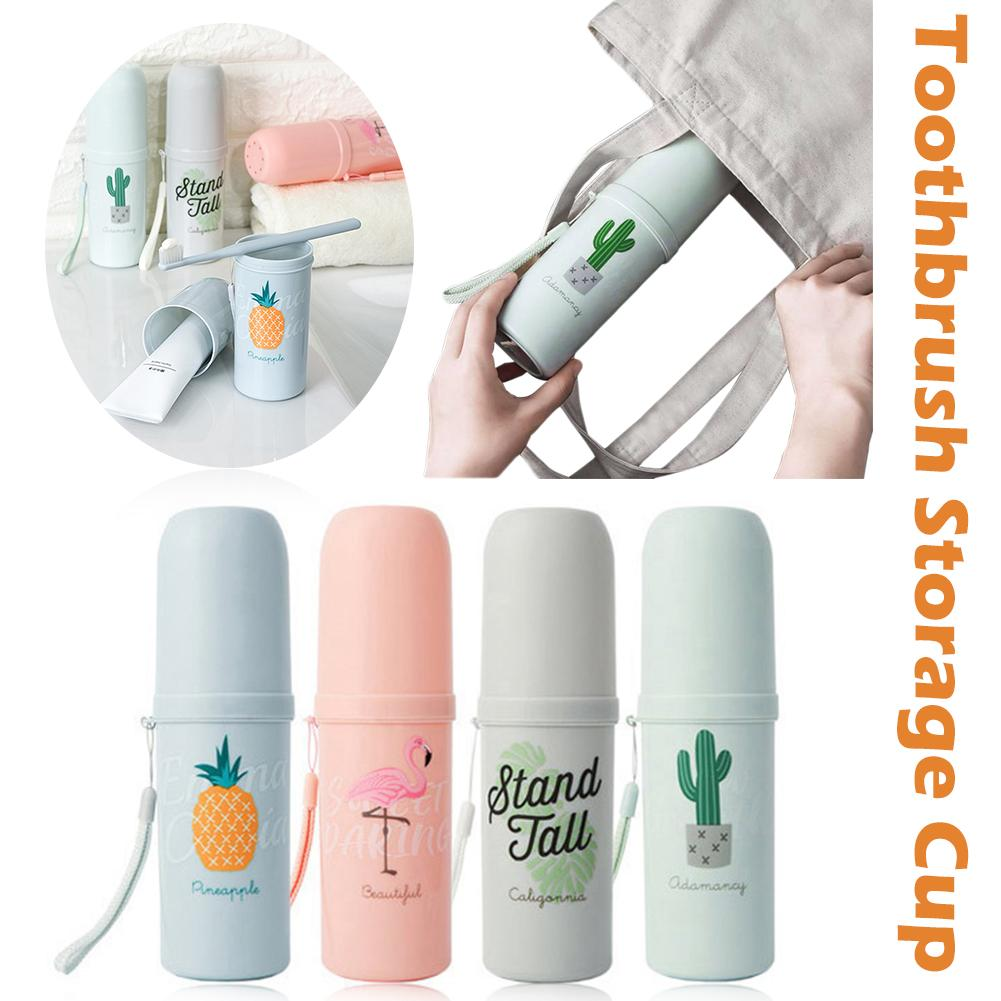 Portable Travel Set Toothbrush Cup Storage Box Home Flamingo Cactus Organizer Toothpaste Tooth Brush Towel Wash Gargle Cup 40